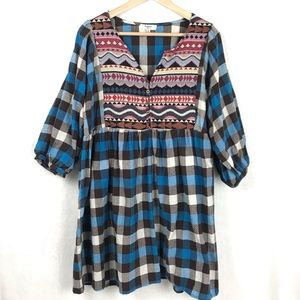Hayden Los Angeles Plaid Babydoll Dress Size XL
